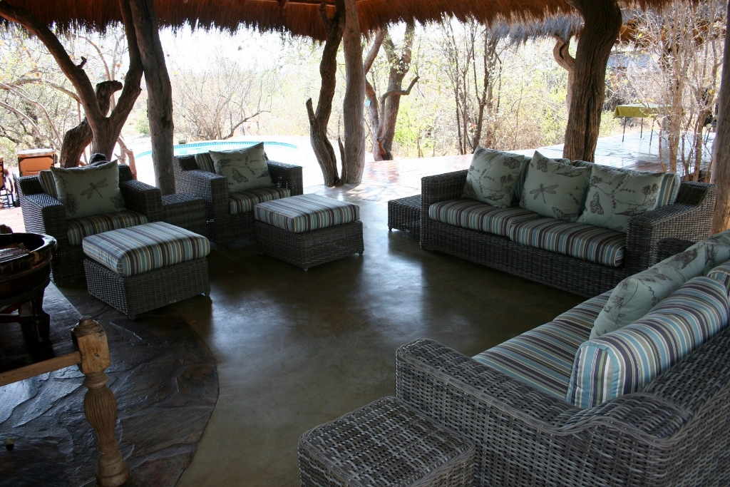 Main Kukama lodge outdoor sitting area with couches/sofas